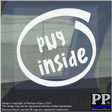 1 x Pug Inside-Window,Car,Van,Sticker,Sign,Adhesive,Dog,Pet,On,Board,Lead,Puppy